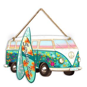 Plaque Décoration Surfpistols Combi Mini Bus Emeraude